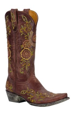 Old Gringo® Ladies Lucky Cognac Brown w/ Horseshoe & Embroidery Snip Toe Boots | Cavender's Boot City