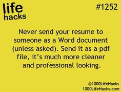 Improve your life one hack at a time. 1000 Life Hacks, DIYs, tips, tricks and More. Start living life to the fullest! Job Resume, Resume Tips, Resume Ideas, Resume Pdf, College Resume, Resume Help, Resume Templates, Sample Resume, Simple Life Hacks
