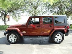 Burnt Orange Jeep Wrangler Sahara. This is my fun car. I'd take a Rubicon, too.