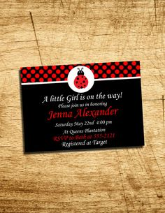 Personalized Lady Bug Baby Shower Invitation by ParkerGDesigns, $1.50