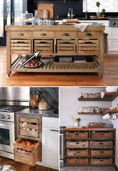 farmhouse kitchen 808466570591432806 - Farmhouse Style Kitchen Storage with Wood Crates Source by Rustic Kitchen Island, Farmhouse Sink Kitchen, Shabby Chic Kitchen, Rolling Kitchen Island, Kitchen Islands, Casa Hipster, Diy Kitchen Storage, Kitchen Storage Furniture, Crate Storage