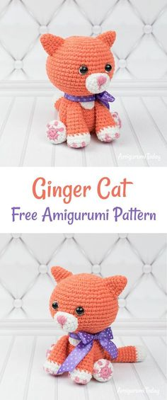 Ginger cat crochet pattern This little ginger cat amigurumi is just waiting to win the hearts of cat fans everywhere! Measuring about 4 inches, this sweet ginger cat is lovingly crocheted and designed to provide its owner with time of hugs and cuddles. Chat Crochet, Crochet Mignon, Crochet Animal Amigurumi, Crochet Amigurumi Free Patterns, Crochet Animal Patterns, Stuffed Animal Patterns, Crochet Animals, Crochet Dolls, Crochet Baby