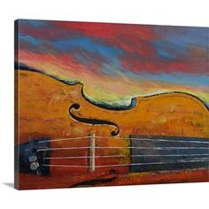 "Canvas On Demand Violin - Sunset by Michael Creese Painting Print on Canvas Size: 16"" H x 20"" W x 1.25"" D"