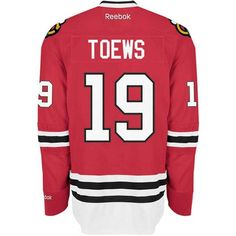 Reebok Men's Jonathan Toews Chicago Blackhawks Premier Jersey ($119) ❤ liked on Polyvore featuring men's fashion, men's clothing and red