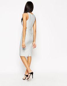 Image 2 ofASOS PETITE Metallic Midi Cut Out Midi Dress