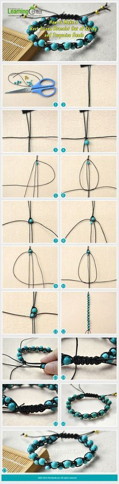 How to Make a Best Friend Bracelet Out of String and Turquoise Beads