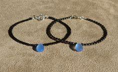 Black Spinel Bracelet, Blue Chalcedony Bracelet, Gemstone Bracelet, Blue Bracelet, Black Bracelet, Skinny Bracelet, Dainty Bracelet by ThreeMagicGenies on Etsy