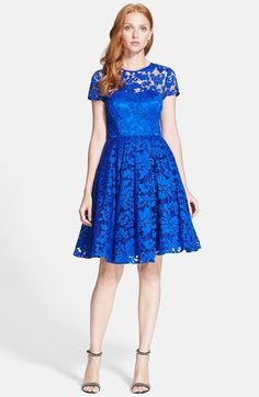 Ted Baker London Lace Fit & Flare Dress #Lace #Blue #Dress