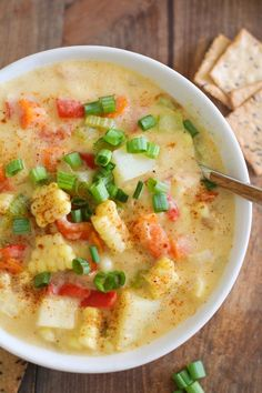 Vegan Corn Chowder - fresh corn red potatoes onion garlic carrots celery red bell pepper Cajun seasoning paprika cumin try so delicious coconut milk or cashew milk; Veggie Recipes, Soup Recipes, Whole Food Recipes, Cooking Recipes, Healthy Recipes, Couscous Recipes, Tilapia Recipes, Mexican Recipes, Casserole Recipes