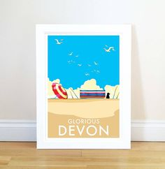 Glorious Devon vintage style travel poster and seaside print forms part of the British Coastlines travel art collection. Created by Devon Artist Becky Bettesworth. Wall Prints, Poster Prints, Retro Quotes, Clear Blue Sky, Vintage Fashion, Vintage Style, Art And Architecture, Travel Posters, Devon