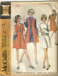Classy Patterns - McCalls 9552 Vintage 60s Paneled Slim Long Vest Dress Jumper Sewing Pattern Misses Size 10 ~ Mod Spring ensemble