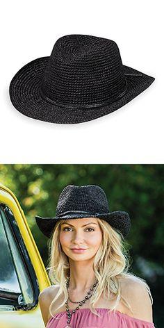 887c998dd950c Wallaroo Hat Company Women s Hannah Hat - Studded Vegan Leather Trimmed  Cowboy Hat