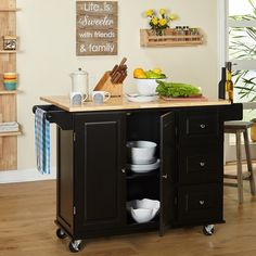 Simple Living Aspen 3-drawer Drop Leaf Kitchen Cart