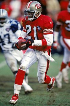 Deon Sanders when he played for the San Francisco and win the Super Bowl. Football Is Life, Nfl Football, American Football, College Football, Football Awards, Football Shirts, 49ers Players, Football Players, Nfl Uniforms