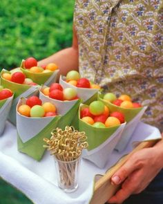 "See the ""Paper Fruit Salad Cups"" in our  gallery. Cute for entertaining especially over the holidays with no staff"