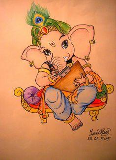 Ganesha by on DeviantArt Ganesha Sketch, Ganesha Drawing, Lord Ganesha Paintings, Ganesha Art, Krishna Painting, Krishna Art, Ganpati Drawing, Krishna Tattoo, Om Ganesh
