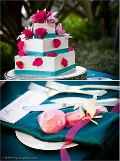 Fuchsia and Teal square wedding cake