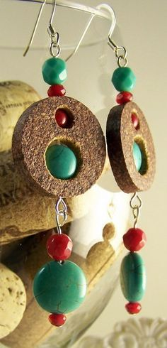 Turquoise with red crystal and wine cork dangle by UncorkedJewelry, $18.00