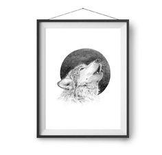 Originaldruck - Kunstdruck Wolf A3 - ein Designerstück von lumilarie bei DaWanda