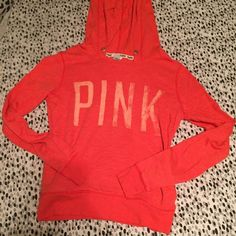 VS PINK Hoodie Used PINK coral lightweight hoodie. Great condition, missing drawstring. Size XS. PINK Victoria's Secret Tops Sweatshirts & Hoodies