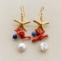 Orecchini stelle marine placc oro perle, lapis e corallo