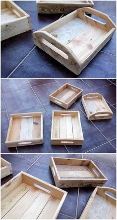 So reuse wood pallets to craft wood pallet serving trays. Use of wood pallets in such environmentally friendly activity. To re-use something that will wind up in trash is worth complementing. Crafting such type of project worth your time and effort. #woodcraftplans #woodcraftprojects