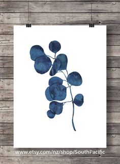 Ink blue eucalyptus foliage print   Printable art   hand painted indigo leaf print  watercolor leaf botanical illustration   eucalyptus