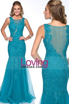 2015 Scoop Mermaid Prom Dresses Tulle With Applique And Beads