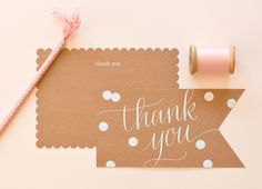 @Sugar Paper  Kraft Thank You Stationery - Read more on One Fab Day: http://onefabday.com/sugar-paper-stationery/