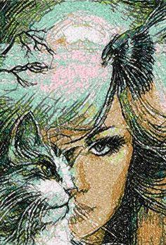 Cat and woman photo stitch free embroidery design - Photo stitch embroidery designs - Machine embroidery community