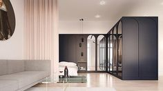 A beautiful combination between bold and soft palettes, with stunning repetition throughout the cabinetry. In addition, the curtain divider is a perfect addition for small spaces. Pink Meets deep Blue By Iya Turabelidze  @iyaturabelidze