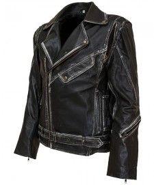 Distressed Mens Black Biker Leather Jacket by TheLeatherJacketShop.com