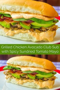 Grilled Chicken Avocado Club Sub with Spicy Sundried Tomato Mayo Grilled Chicken Avocado Club Sub with Spicy Sundried Tomato Mayo. An incredibly delicious sandwich that's a meal in itself! Chicken Sandwhich, Grilled Chicken Sandwiches, Chicken Sandwich Recipes, Healthy Sandwiches, Delicious Sandwiches, Grilled Chicken Recipes, Grilled Meat, Best Sandwich Recipes, Avocado Recipes