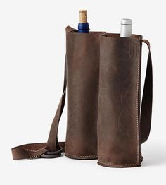 BYOB Leather Wine Bottle Bag by Waltzing Matilda USA on Scoutmob