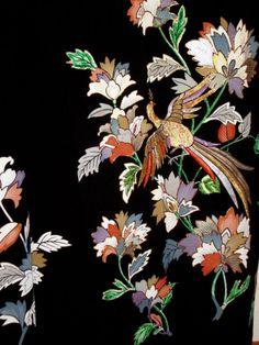 "JAPANESE ART SILK KIMONO ""ANTIQUE TOMESODE"" PHOENIX FLOWERS Embroidery 5 CREST"