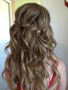 Grad hair, waterfall braid