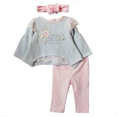 Wholesale Children's Outfits & Sets - Buy 2014 New Baby Clothing Set Spring/Autumn Girls Suits T-shirt +pants+bowknot Headband Princess Flowers Clothes, $9.95   DHgate