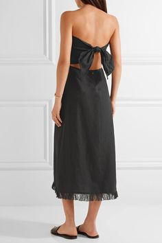 Theory - Phyly Strapless Fringed Linen Midi Dress - Black - US10