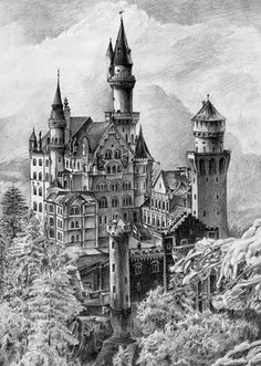 pencil drawings of castles - Google Search