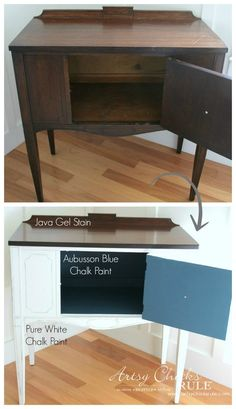 Sideboard Makeover with Java Gel and Chalk Paint - Before and After 3- #javagel #chalkpaint #aubussonblue #anniesloan #makeover artsychicksrule.com