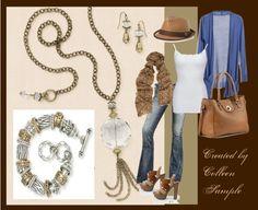 """Florence"" necklace & earrings with  ""Park Avenue"" bracelet"""