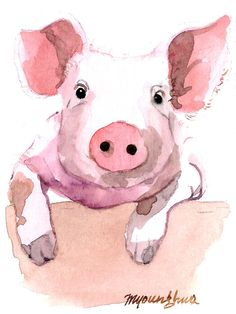 ACEO Limited Edition 1/10- Who's this Pig, in watercolor. $4.00, via Etsy.