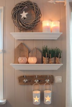 Love the white shelf against the tan wood wall and the contrasting textures.