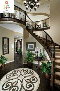 Staircase Interior Images Foyer Staircase, Curved Staircase, Staircase Design, Staircases, Interior Staircase, Dream House Interior, Dream Home Design, My Dream Home, House Design