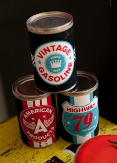Cute way to decorate a boy birthday party! Cover soup cans with printed labels found for free online. Motorcycle Rally Party via Kara's Party Ideas