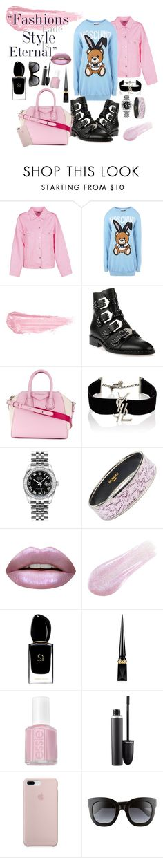 """""""Fashion Style Eternal"""" by ilovemoda20 ❤ liked on Polyvore featuring MSGM, Moschino, By Terry, Givenchy, Yves Saint Laurent, Rolex, Hermès, Huda Beauty, Lipstick Queen and Giorgio Armani"""