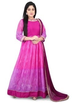 Faux Georgette Abaya Style Suit Pink and Purple This Readymade attire is Emblazoned with Shibori and Stone Work and is Crafted in Boat Neck and Quarter Sleeve Available with a Lycra Leggings in Pink and a Faux Chiffon Dupatta in Magenta The Lengths of the Kameez and Bottom are 58 and 46 inches respectively Do note: Accessories shown in the image are for presentation purposes only.(Slight variation in actual color vs. image is possible)