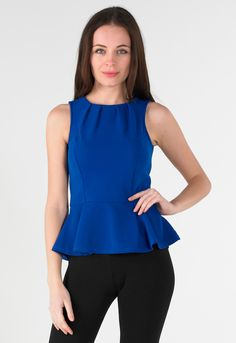 Blue Zip Back Peplum Top - Womens Clothing Sale, Womens Fashion, Cheap Clothes Online | Miss Rebel
