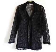 Black Mesh Top One Button Top Vintage Women's Clothing Long Sleeves Fashion 90s Black Top Long Mesh Top Cardigan Top by Vintageby2sisters on Etsy