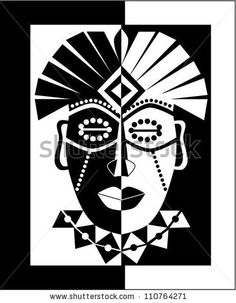 Black and white African mask - stock vector